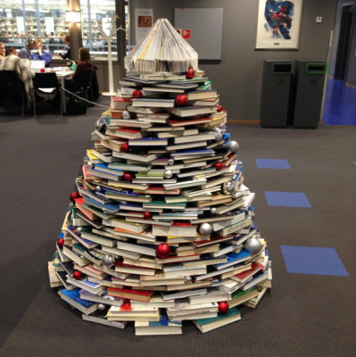 BI Library Christmas Tree Made Out of Books.png