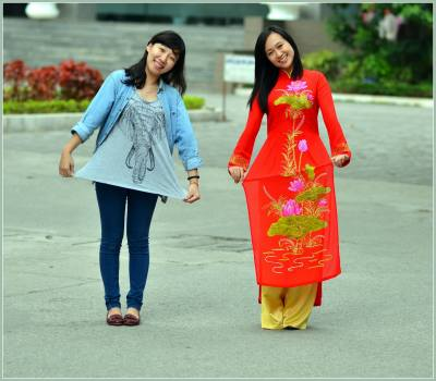 In Vietnamese traditional costume (Ao dai) with my closet friend